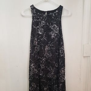 Black velvet floral shift dress